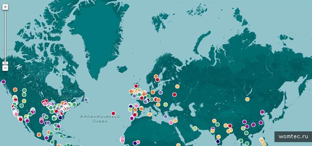 Интерактивная карта мира в дизайне
