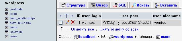 Восстановление пароля от WordPress