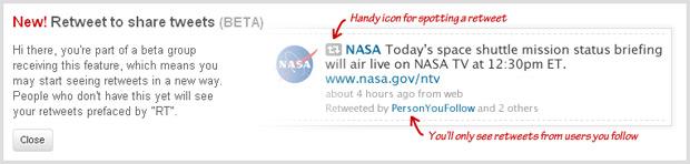 Новый вид ретвитов (retweet) в твиттере