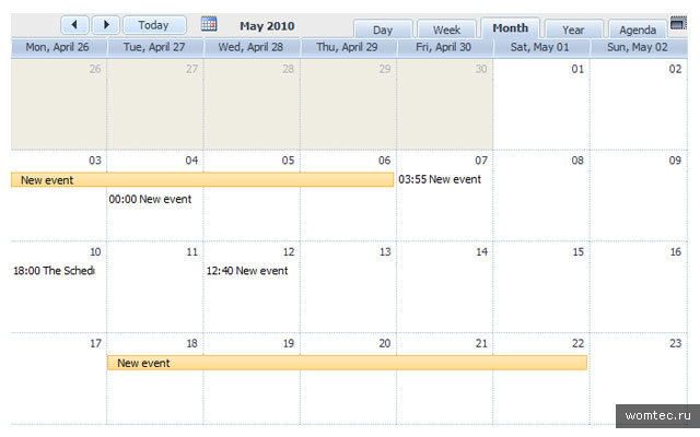 Календарь событий для WordPress